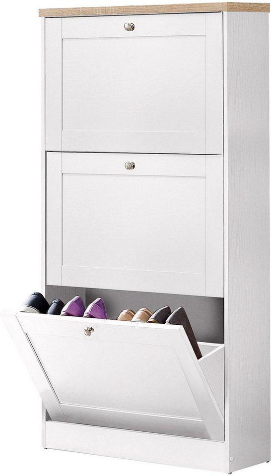 Schuhschrank heide mit 3 klappen online kaufen otto for Schuhschrank mit viel stauraum