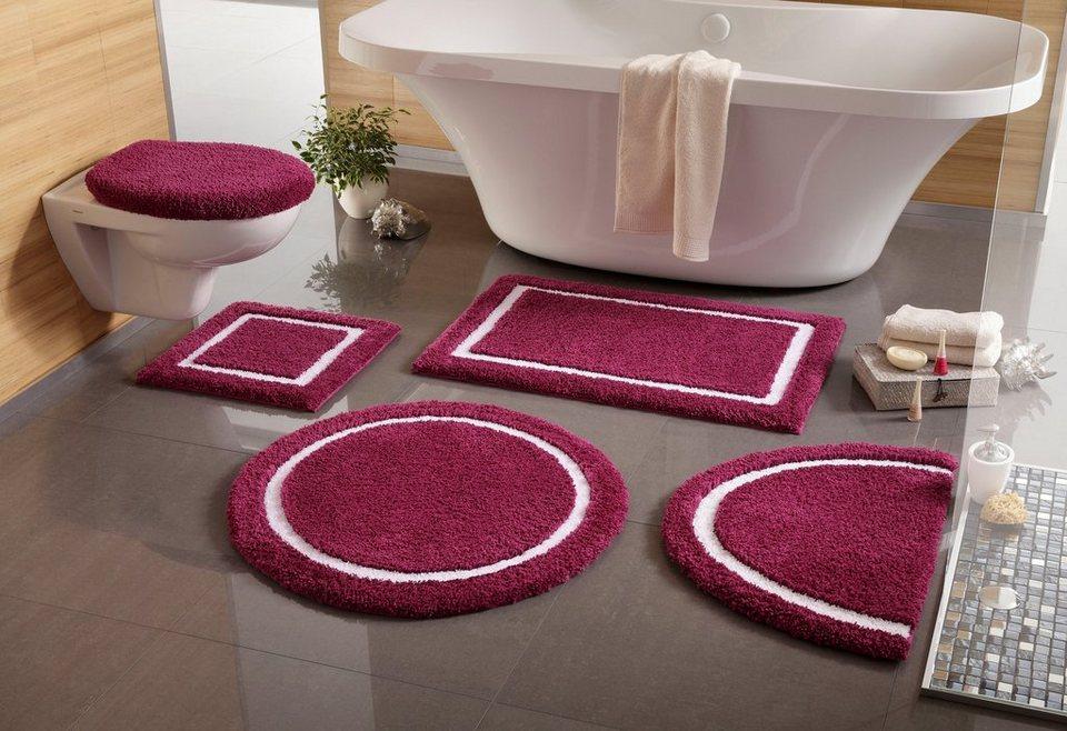 Badematte, 3 tlg. Hänge WC-Set, my home, »Anika«, Höhe 20 mm, rutschhemmender Rücken in lila