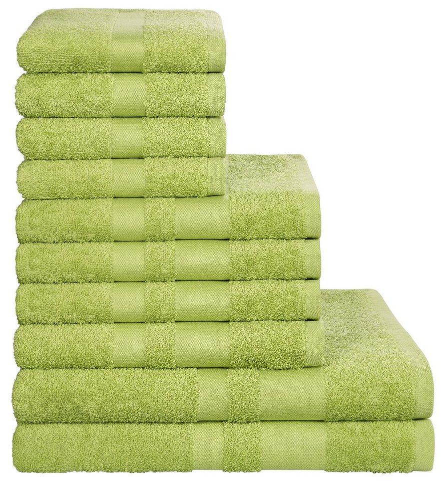 Handtuch Set, my home, »Vanessa«, mit abgesetzter Bordüre in grün