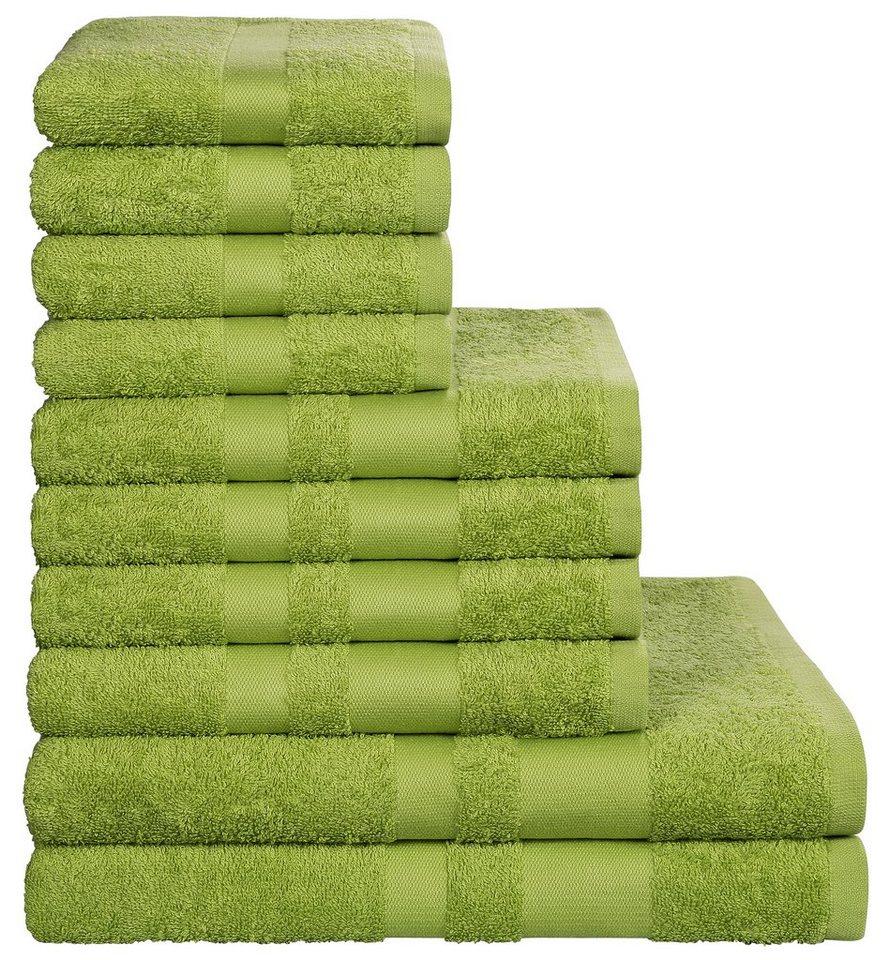 Handtuch Set, my home, »Vanessa«, mit abgesetzter Bordüre in dunkelgrün