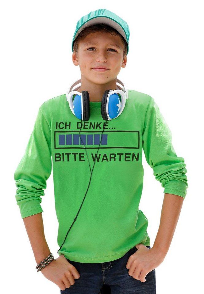 """KIDSWORLD Langarmshirt """"ICH DENKE...BITTE WARTEN"""" in neongrün"""