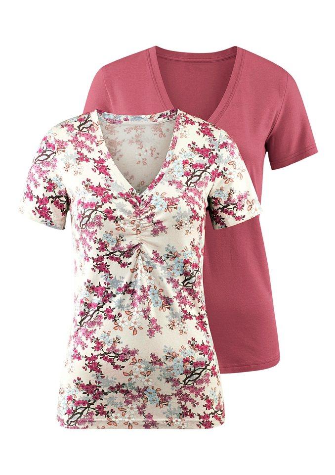 Classic Inspirationen Shirts mit dekorativer Raffung (2er Pack) in ecru-bedruckt + rosenholz