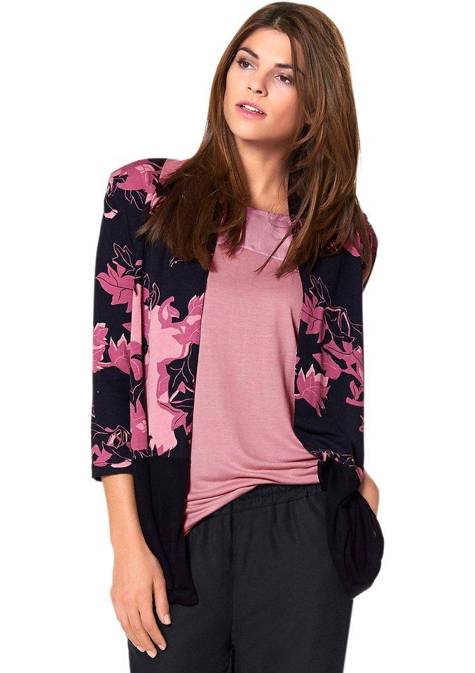Lady Shirtjacke mit 3/4-Ärmel in schwarz-rosé-bedruckt