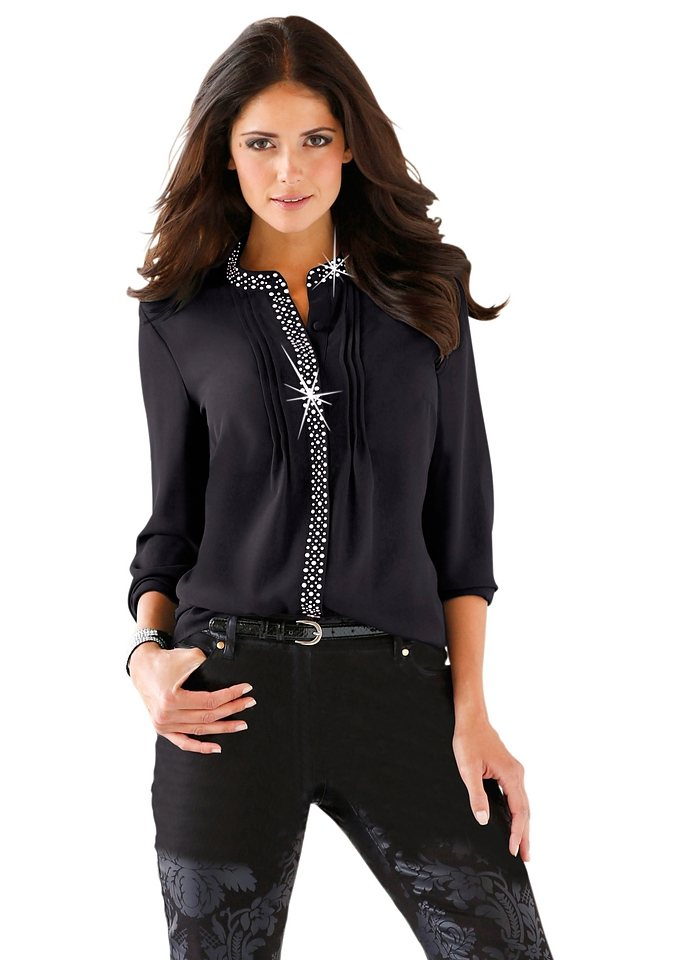 Lady Bluse mit schmalen Pliseefältchen vorne in schwarz