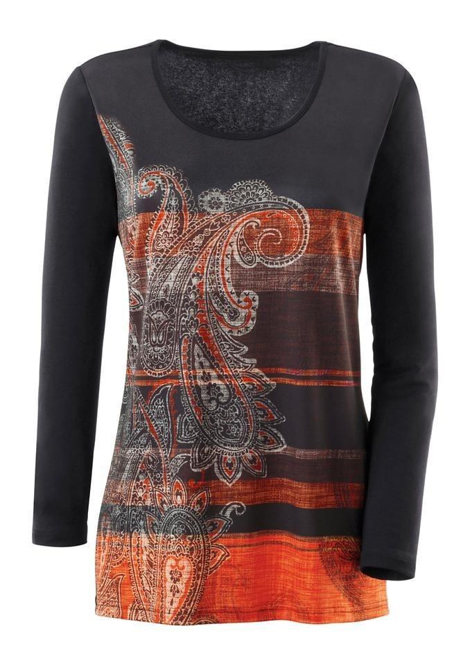 Ambria Longshirt bedruckt in schwarz-orange-gemustert