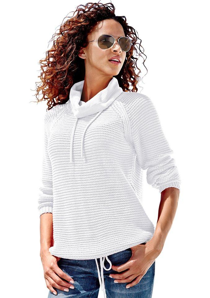 Classic Inspirationen Pullover mit halsfernem Rollkragen in weiß