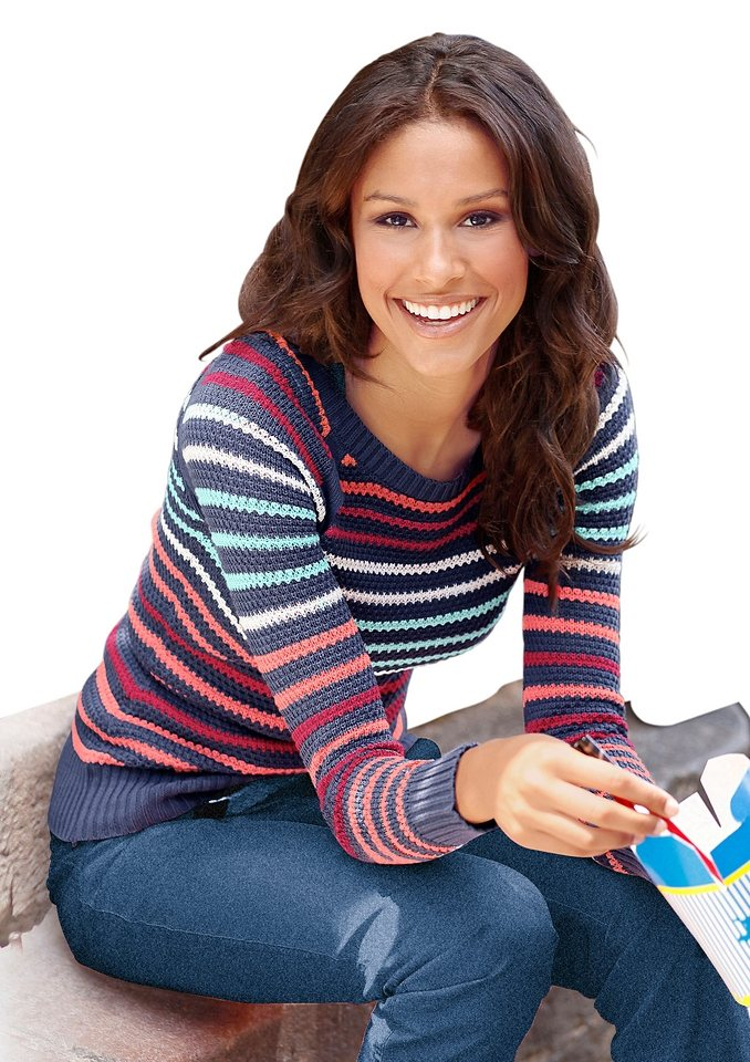 CLASSIC INSPIRATIONEN Pullover mit komfortablen Raglanärmeln in jeansblau-gestreift