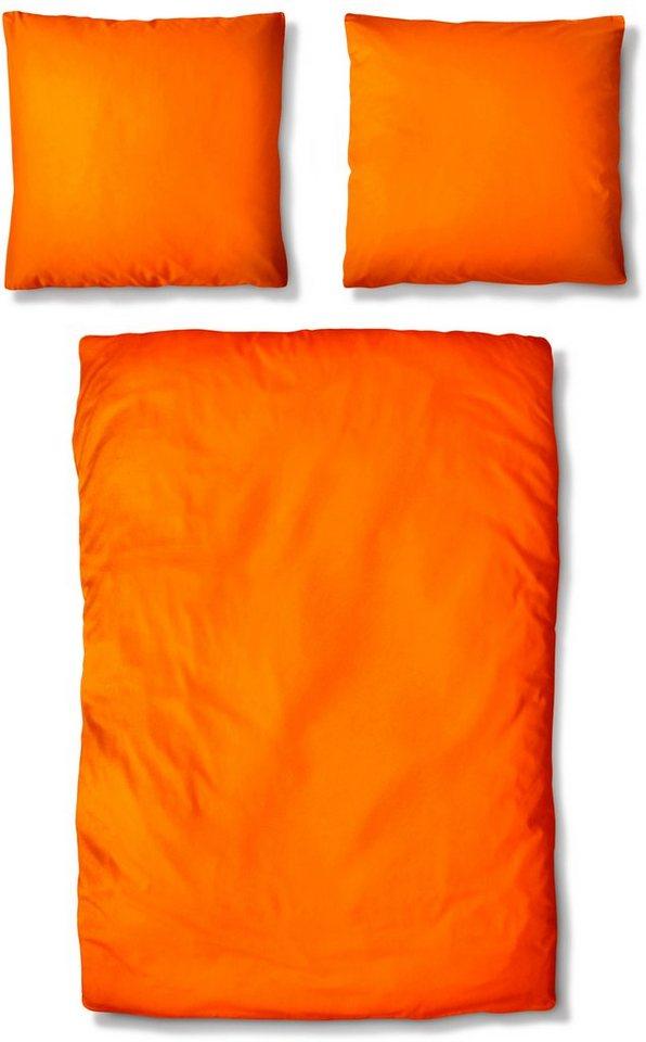 Bettwäsche, Auro Hometextile, »Basic-Uni«, mit seidigem Schimmer in orange