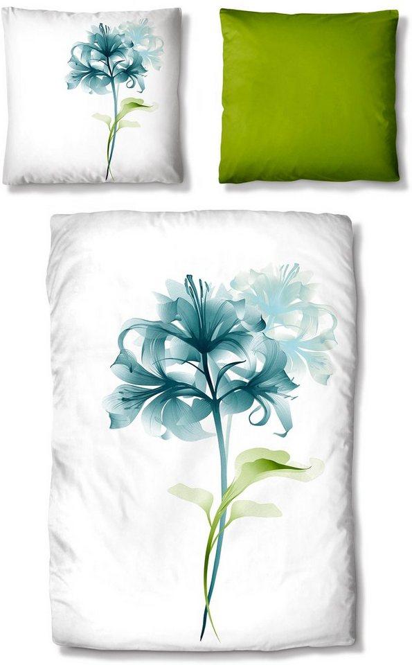 Bettwäsche, Auro Hometextile, »Lily Flower«, mit Lilie in blau-grün