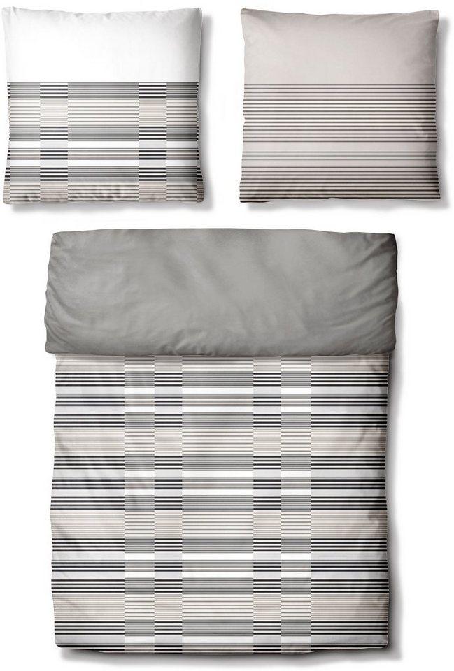 Bettwäsche, Auro Hometextile, »Sven«, mit Streifen in grau
