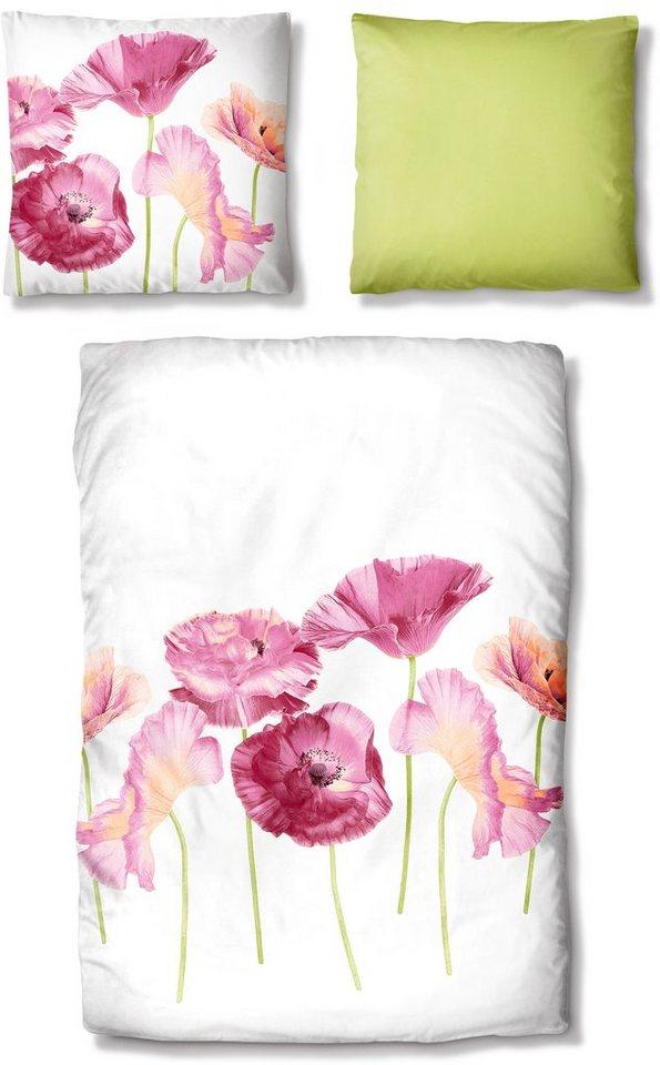 Bettwäsche, Auro Hometextile, »Mohnblumen«, mit Blüten in beere