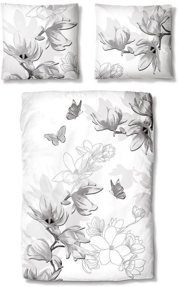 Bettwäsche, Auro Hometextile, »Eva«, mit Schmetterlingen in grau