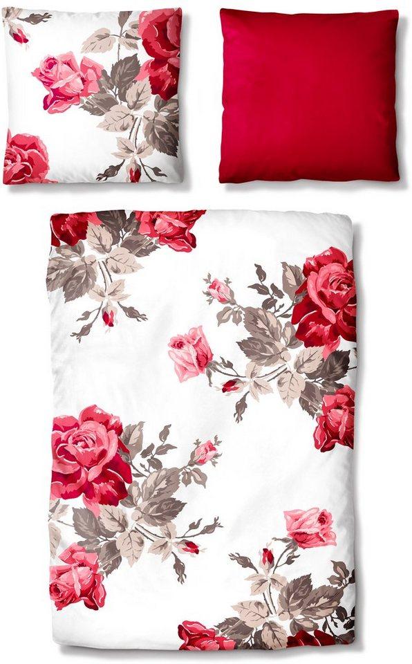 Bettwäsche, Auro Hometextile, »Rosengarten«, mit Rosenblüten in rot