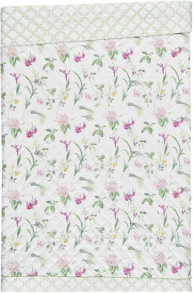 Tagesdecke, Laura Ashley, »Orchid«, mit gemusterter Bordüre in beere