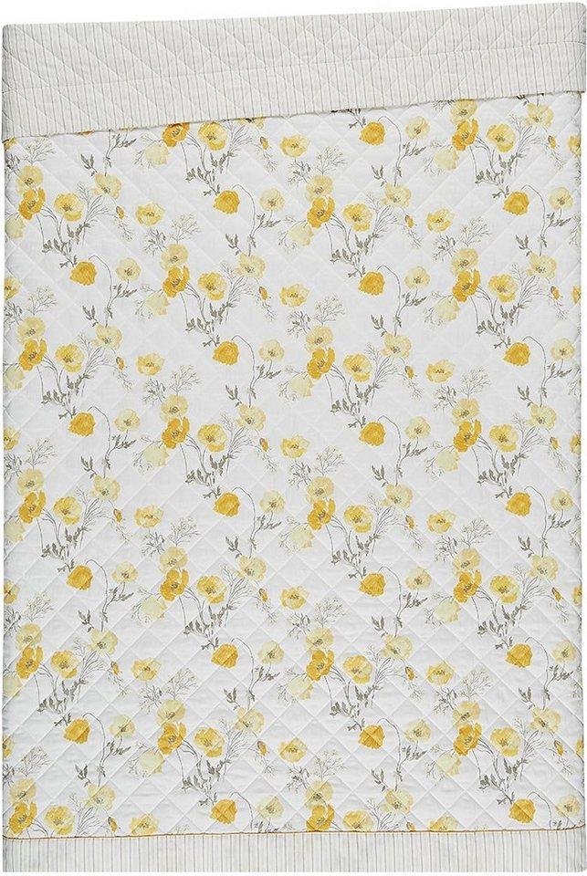 Tagesdecke, Laura Ashley, »Poppy Meadow«, mit Mohnblumen in gelb