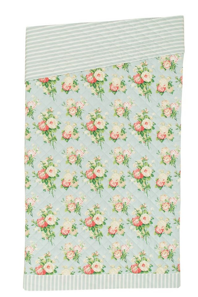 Tagesdecke, Laura Ashley, »Cecilia«, mit Blumenmuster in hellblau