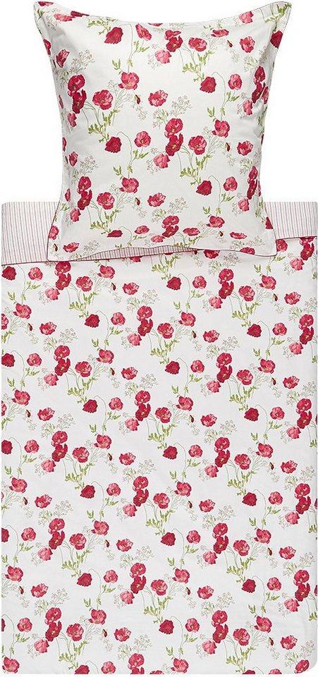 Bettwäsche, Laura Ashley, »Poppy Meadow«, mit Mohnblumen in rot