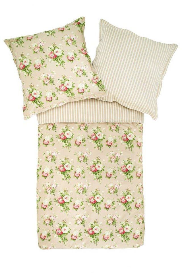 Bettwäsche, Laura Ashley, »Cecilia«, mit Blütendesign in beige