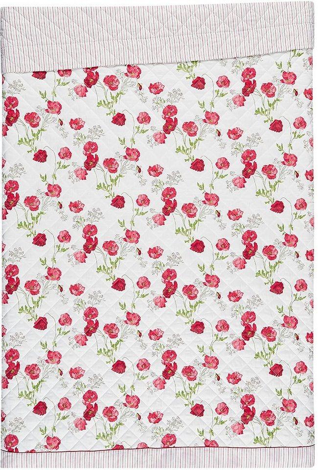 Tagesdecke, Laura Ashley, »Poppy Meadow«, mit Mohnblumen in rot
