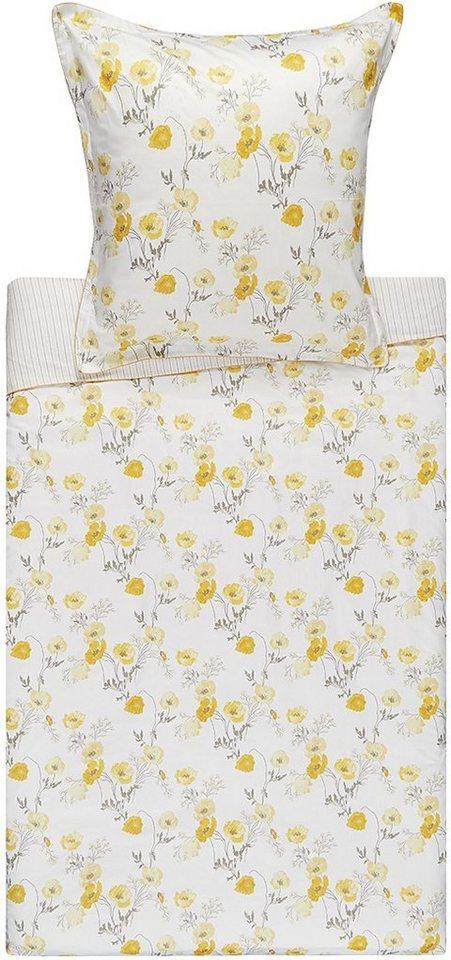 Bettwäsche, Laura Ashley, »Poppy Meadow«, mit Mohnblumen in gelb