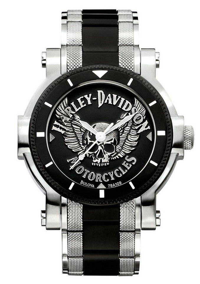 "Harley Davidson, Armbanduhr, ""Signature, 78A109"" in silberfarben-schwarz"