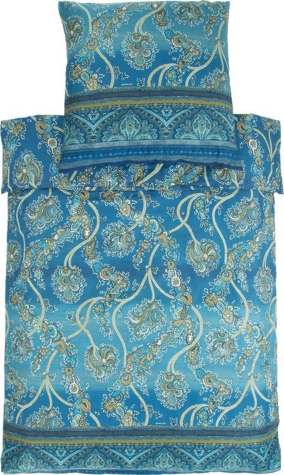 Bettwäsche, Bassetti, »Bramante«, mit Ornamenten in blau