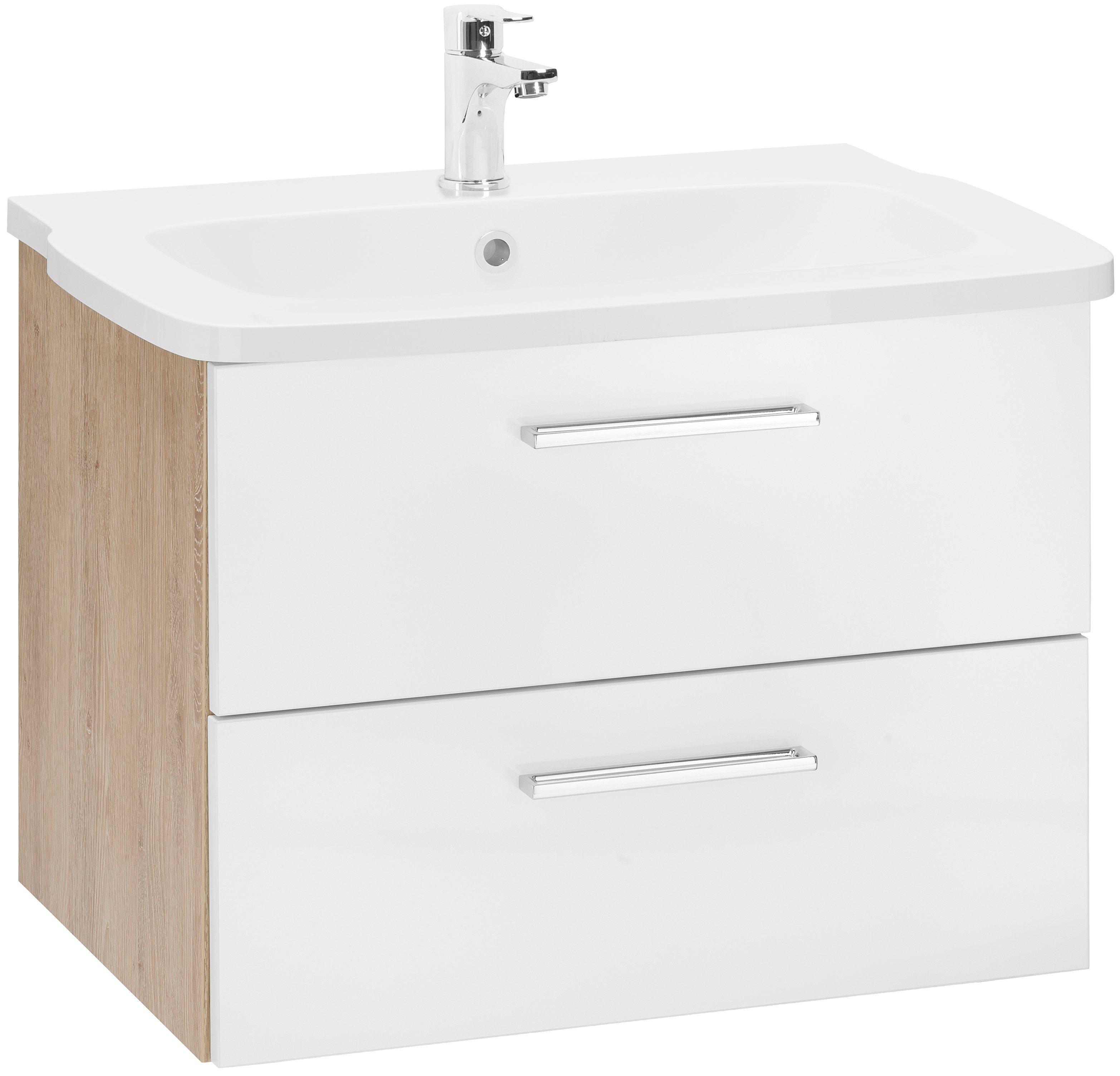 OPTIFIT Waschtisch »Samoa« | Bad > Badmöbel > Badmöbel-Sets | Weiß | Glänzend | OPTIFIT