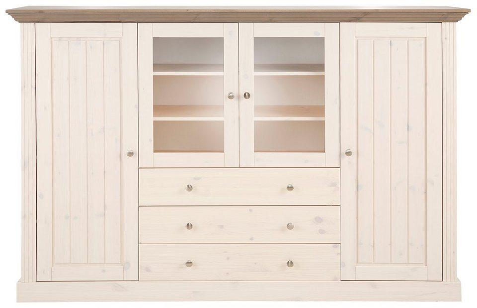 Highboard, Home affaire, »Skanderborg«, Breite 186,5 cm, Höhe 123 cm in weiß/grau