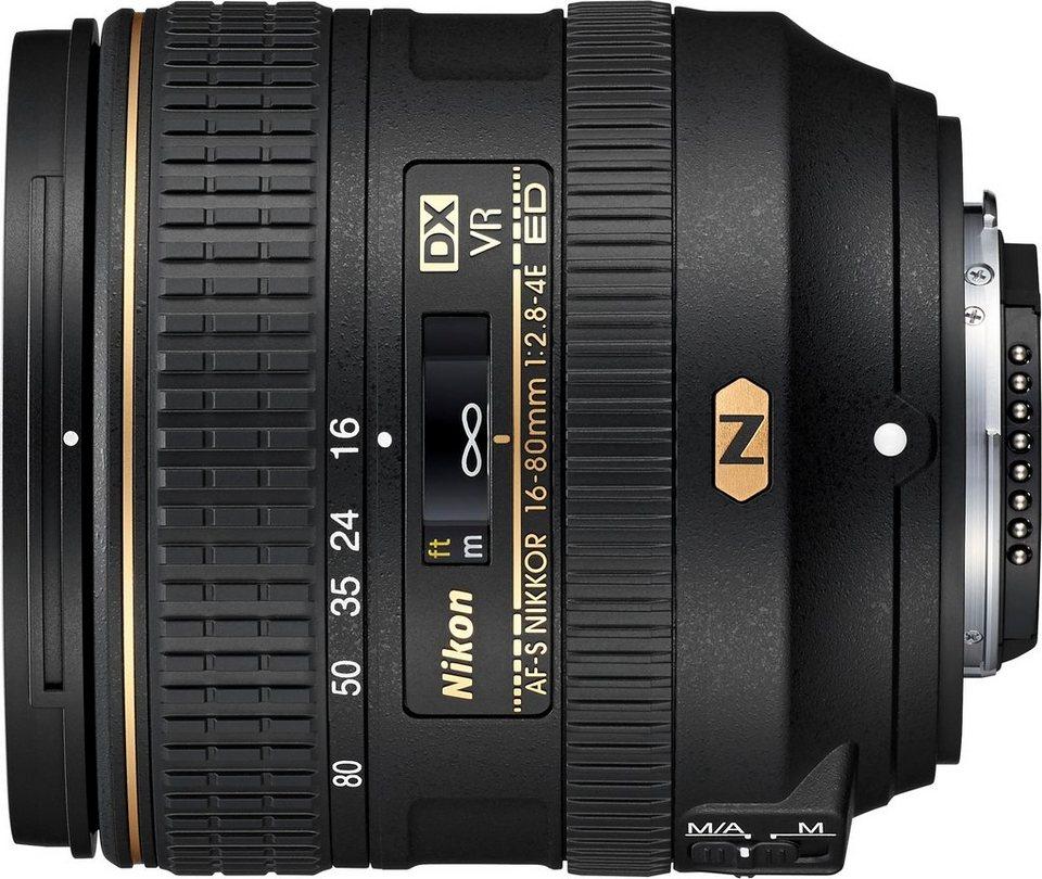 Nikon AF-S DX NIKKOR 16–80 mm 1:2,8–4E ED VR Standardzoom Objektiv in schwarz