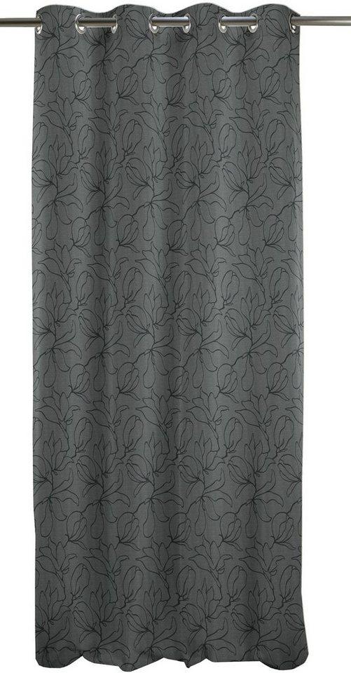Vorhang, Apelt, »Uni - 4887«, mit Ösen (1 Stück) in anthrazit