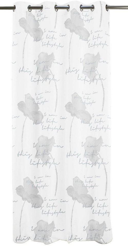 Vorhang, Apelt, »Peppa«, mit Ösen (1 Stück) in weiß/grau - Inbetween