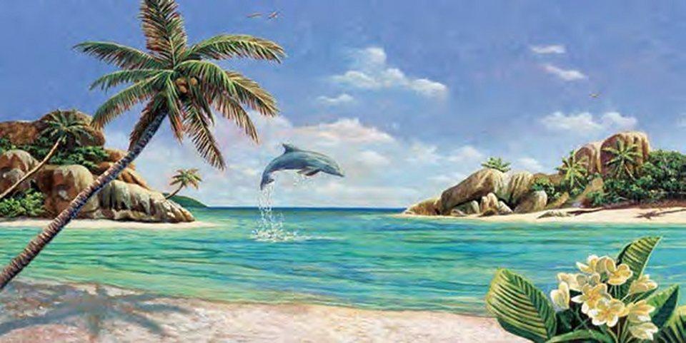 Decopanel, Home affaire, »A. D. Missier/Seychellen«, 100/50 cm in blau