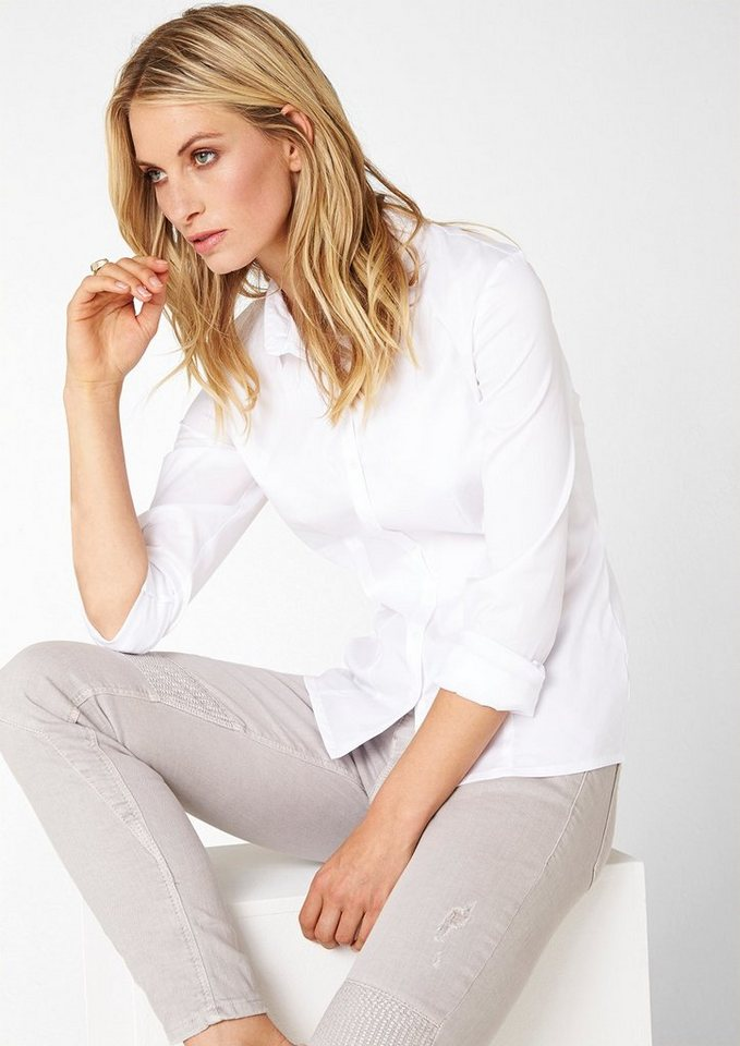 s.Oliver BLACK LABEL Stretch-Bluse mit tonigen Knöpfen in white
