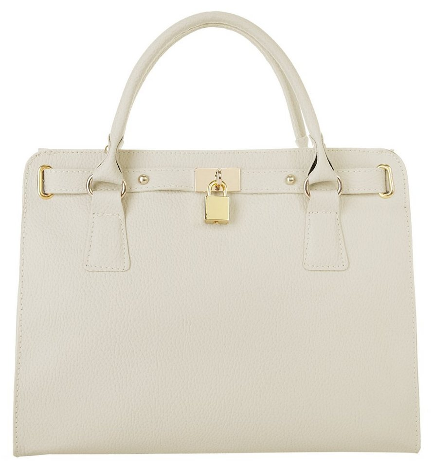 Samantha Look Leder Damen Handtasche in creme