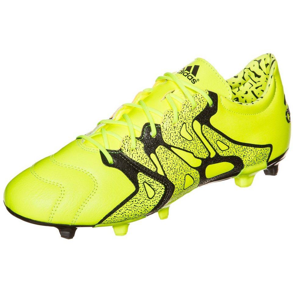 adidas Performance X 15.2 FG/AG Leather Fußballschuh Herren in neongelb / schwarz