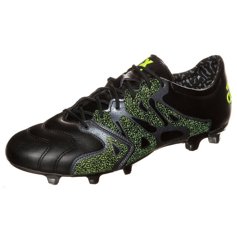 adidas Performance X 15.2 FG/AG Leather Fußballschuh Herren in schwarz / neongelb