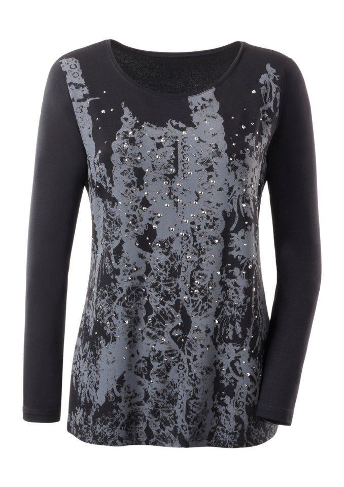 Ambria Shirt mit Metallplättchen in schwarz-gemustert