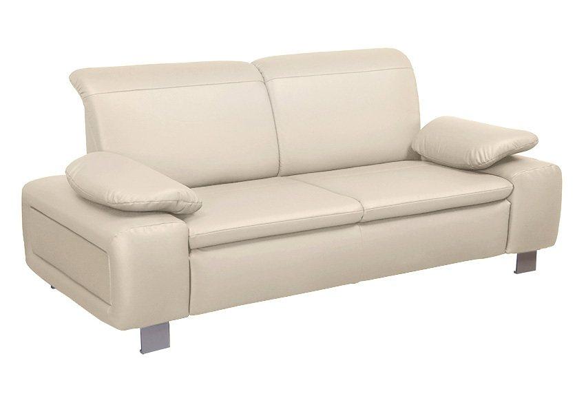 Sit&More 2-Sitzer mit Armlehnkissen in creme
