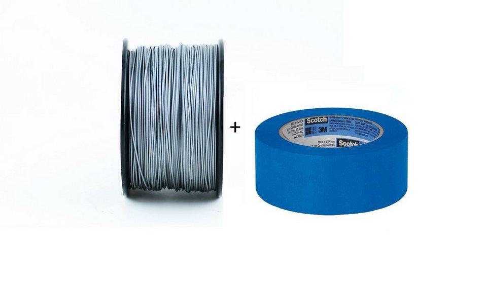 except Startkit mit Fixier-Klebeband »Set: PLA-Filament 1.75 + Blue Tape« in moonshine silver