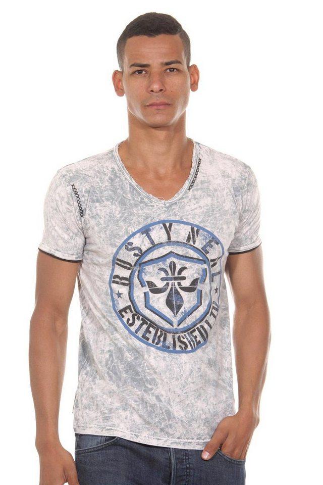R-NEAL T-Shirt V-Ausschnitt slim fit in khaki