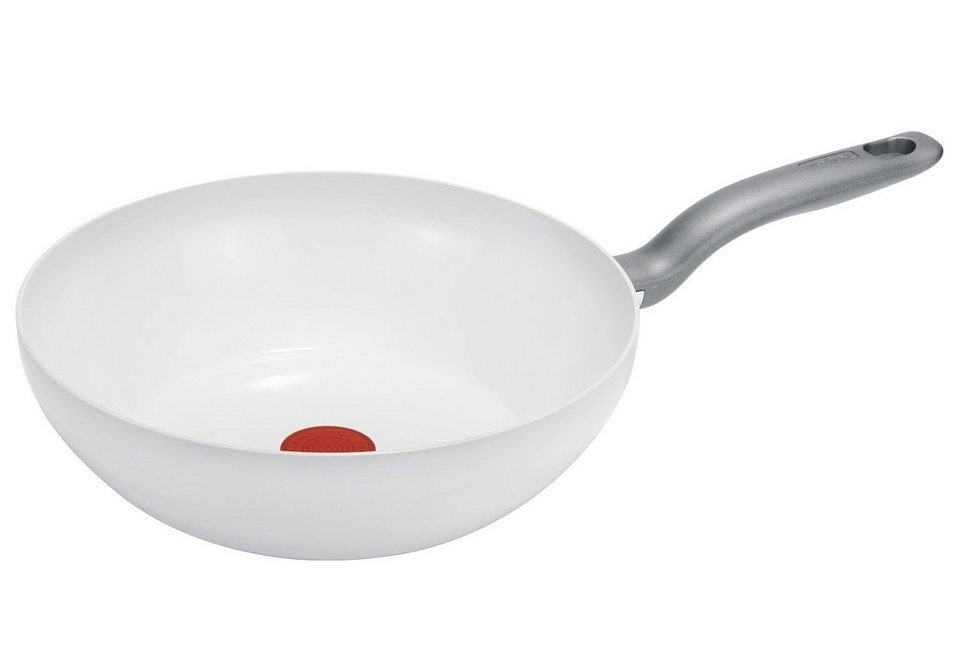 Elegant Tefal Wok »CeramicControl White«, Leichtmetall, Induktion