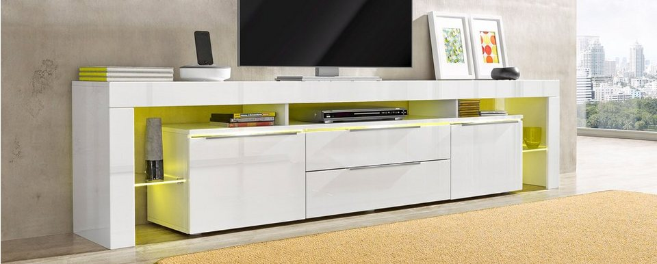 roomed Lowboard, Breite 220 cm in weiß