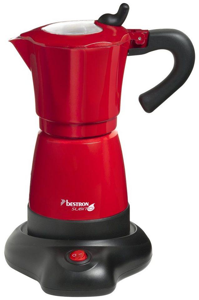 bestron Espressokocher AES480, für bis zu 6 Tassen Espresso, 8 Bar, Aluminiumgehäuse in rot
