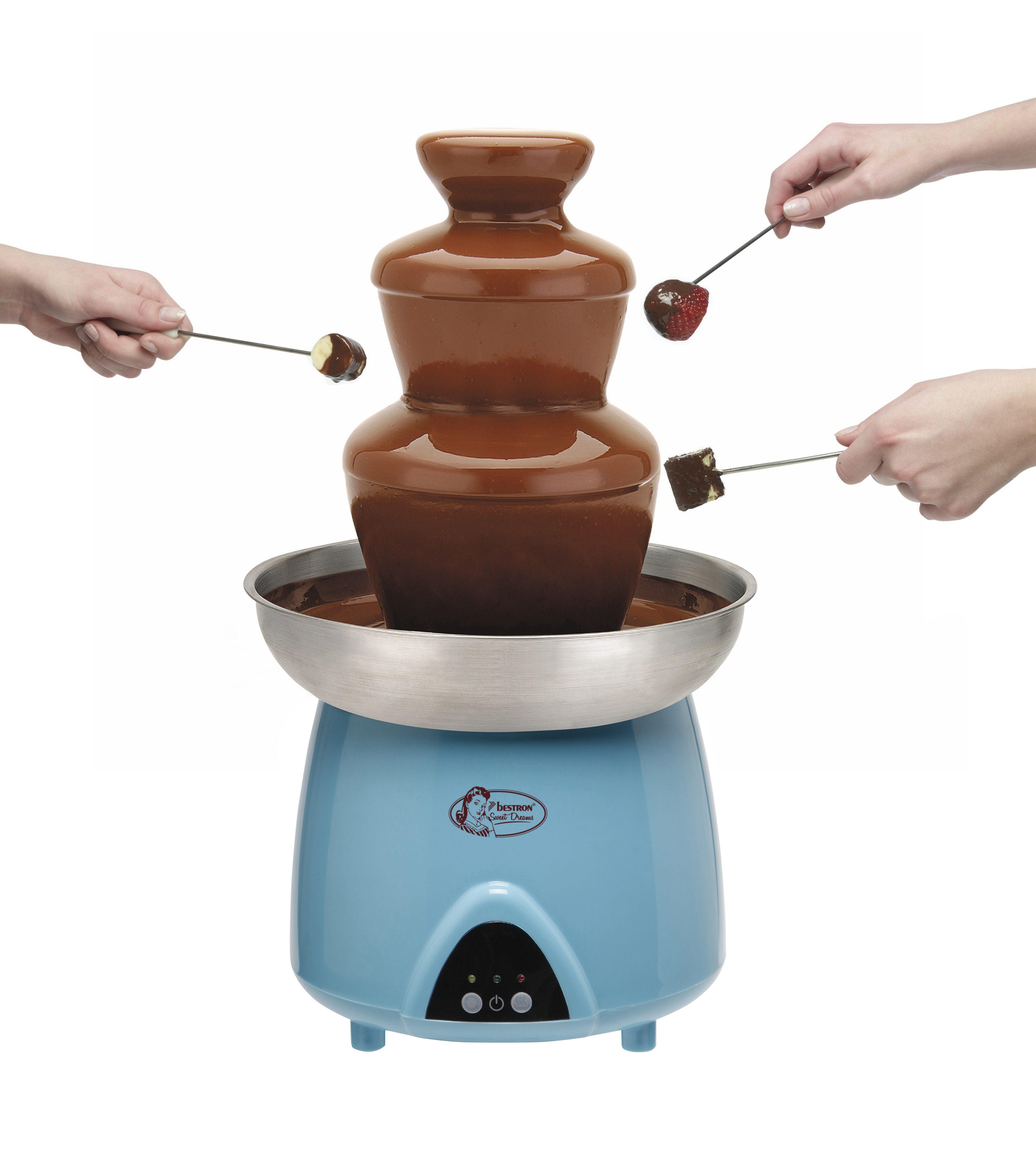 bestron Schokofontäne, Schokoladenbunnen DUE4007, beheizte 1,5 Liter-Edelstahlschüssel