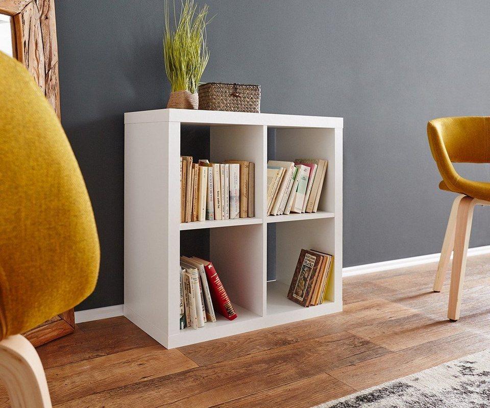 DELIFE Standregal Keltor Weiss 75x75 cm 4 Fächer Bücherregal in Weiß