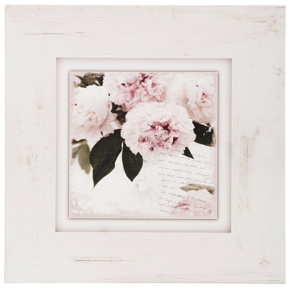 Holzbild, Home affaire, »Rosa Blumen«, 40/40 cm in creme/rosa