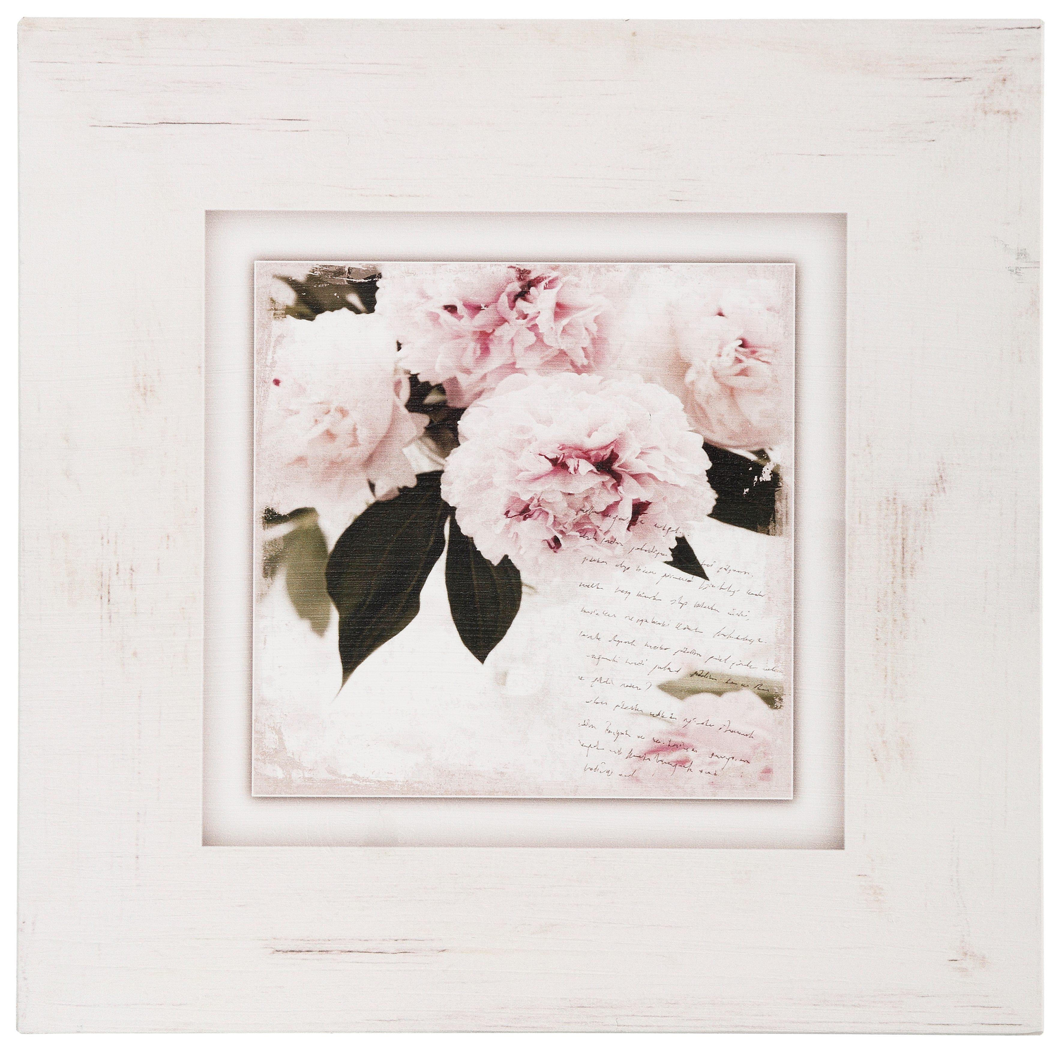 Home affaire Holzbild »Rosa Blumen«, 40/40 cm
