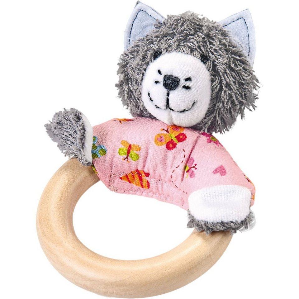 Käthe Kruse Greifling Katze mit Holzring