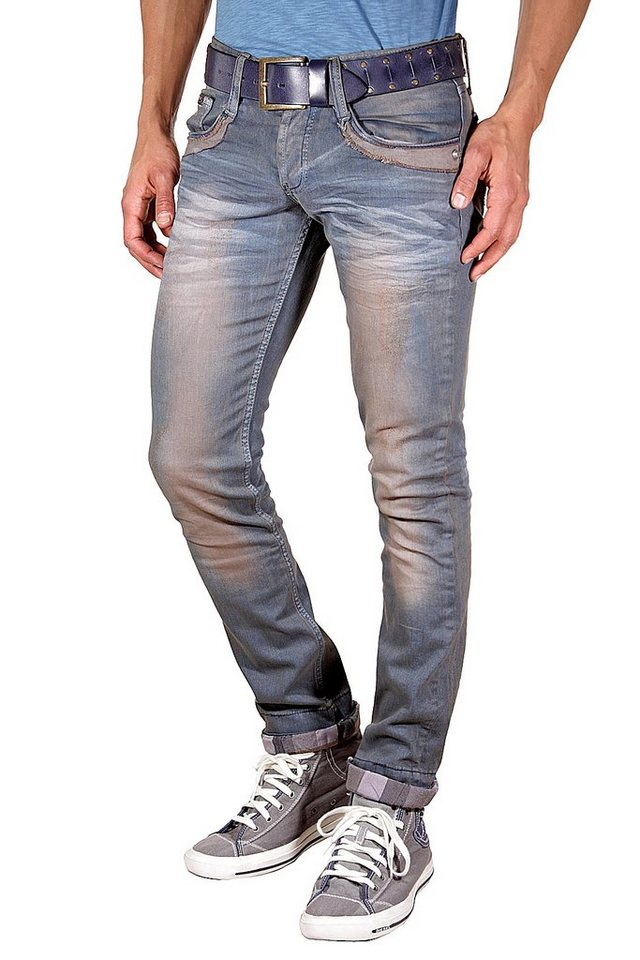 KINGZ Stretchjeans slim fit in dunkelgrau