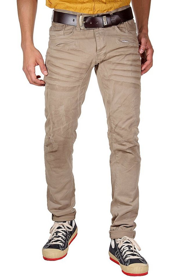 KINGZ Stretchjeans slim fit in khaki
